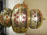 LARGE TURKISH GOLD METAL AND COLOURED GLASS HANGING LIGHT,ORNATE GENUINE,