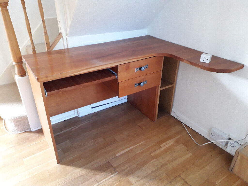 online store 00ed7 83616 Cherry wood corner desk with keyboard tray and additional small file  pedestal. £30.00 | in Frenchay, Bristol | Gumtree