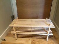Wooden two tier shoe rack