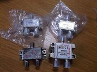 Satellite/TV signal splitter modules.