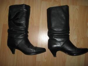 botte noir en cuir pour femme
