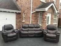 Luxury faux brown leather ~ 3 -1- 1 Sofas suite
