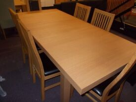 Wickham oak effect extending table and 4 Paris chairs and 2 Warwick