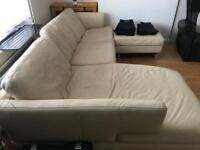 Corner sofa leather cream DFS good condition
