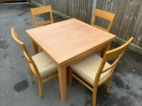 Habitat solid wood extending dining table & 4 chairs