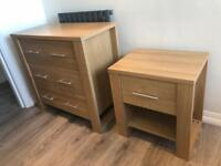 Chest of drawers and bedside table