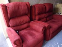 SUITE, electric riser recliner + matching 2 seat sofa, as new CAN DELIVER settee armchair chair..