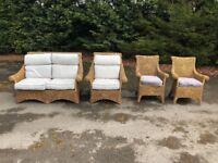 Wicker conservatory furniture set - sofa and 3 chairs