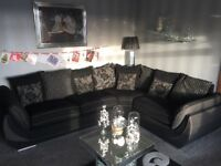 Sofa. corner unit, chair and stool 18 months old immaculate condition