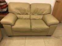 Two luxury leather sofas (beige)