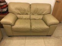 Two luxury leather sofas (beige)