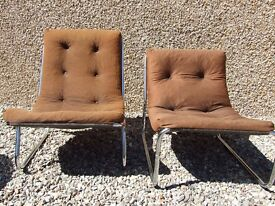 2 brown cord chairs, metal frame