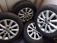 """VW 15"""" STANDARD ALLOYS WITH TYRES IN GOOD CONDITION £95 SET OF 4"""