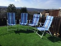 4 Reclining garden chairs. Excellent Condition.