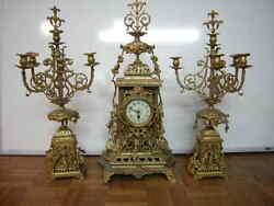 Antique French large gilt bronze garniture set (clock set )31 in. h 78 cm