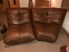 4 Brown Leather Sofas - 2 corner seats, 1 single seat and a chaise longue £150 ONO