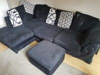 DFS Black Right Hand Facing Pillow Back 5 Seater Corner Sofa Including Storage Pouffe