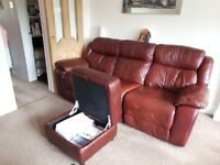 Burgundy Leather Three Seater + Chair and Footstool