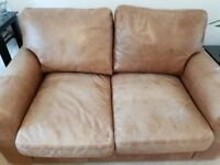 2 seater leather sofa, distressed brown leather, Indigo Furniture, £1790 New, lovingly Designed