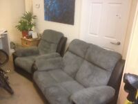 £400 BRADLEY RECLINING SOFA AND CHAIR CHARCOAL