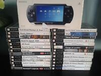 psp console , psp games , psp case excellent condition