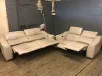 NATUZZI LEATHER SOFA SET ELECTRIC RECLINERS 3+2 seater used