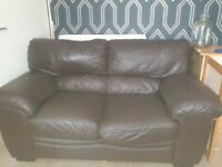 3 seater and 2 seater real leather sofas