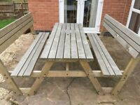 Garden Picnic Table Bench With Chairs Attached 12 Yr Guarantee Remaining