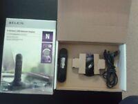 Belkin N Wireless USB Adapter - Network adapter - Hi-Speed USB - 802.11b, 802.11g, 802.11n