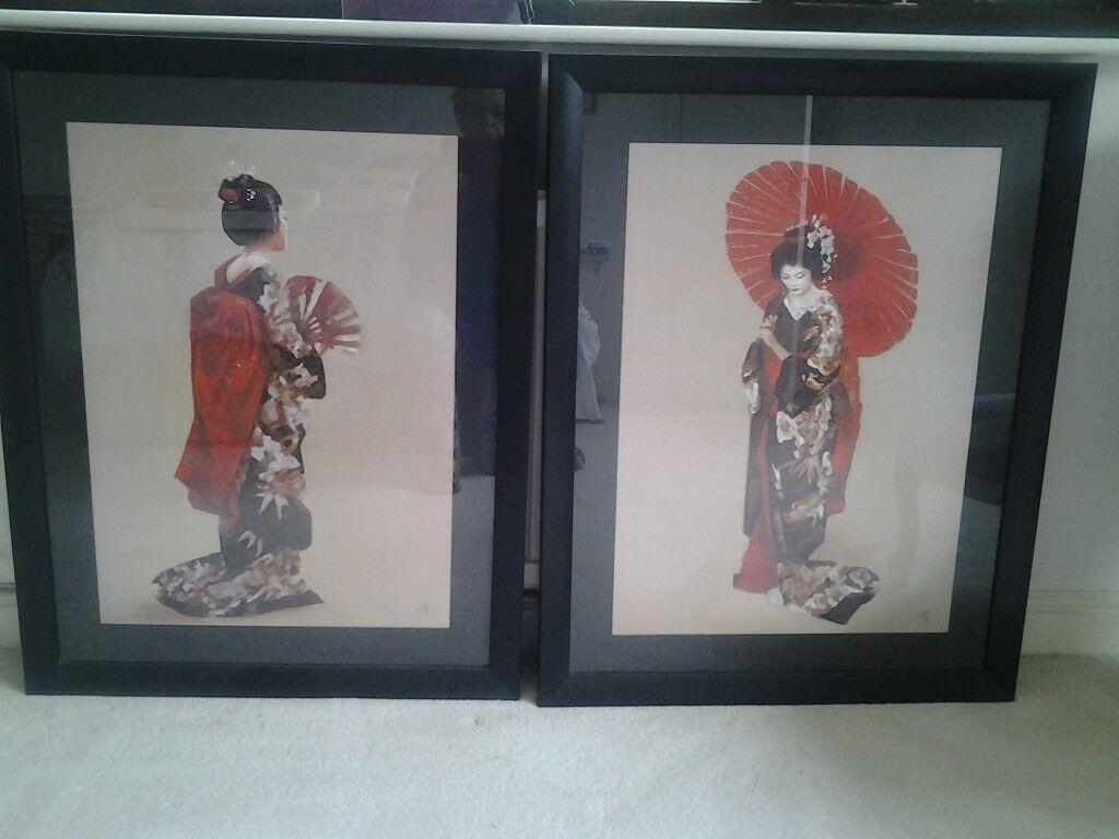 Pair of very largeJapanese Prints in Black frames