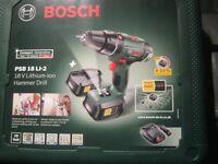 Bosch PSB 18 LI-2 !8 V Hammer drill 2 x 2.0ah batteries hard case new sealed box
