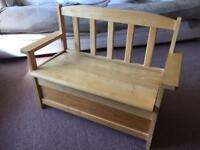 Children's wooden seat bench storage