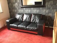 Leather sofa with 2 matching footstools