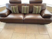 Beautiful Chocolate Brown Leather Sofa and Two Armchairs
