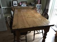 Antique Old pine table and six chairs