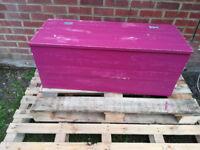 Deep pink shabby chic blanket box large