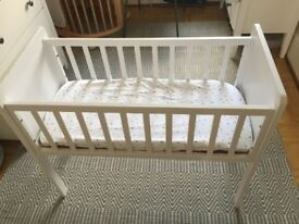 Mothercare bedside cot with BRAND new bedding and mattress
