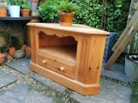 Solid Pine Corner TV Unit with Drawer
