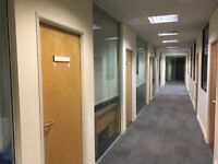 Glass Office Partitions and choice of wooden doors and frames