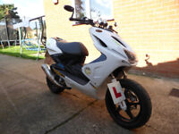 Yamaha Aerox YQ 50 cc, 57 reg, Mot Oct 2018, Pearl White, lots of upgraded extras, see photos, £895