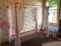 Pink Single 4 post kids bed frame