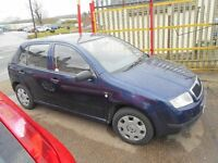 skoda fabia 1400cc 5dr 2002 model , mot dec 2017 ,