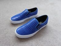 VANS CLASSIC SLIP ON BLUE LEATHER CROC AS NEW BOXED