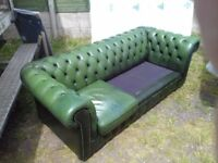 Green Leather Chesterfield Sofa Good Condition, 2 Cushions Missing FREE delivery