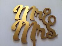 Wedding Cake Topper Mr and Mrs Gold Mirror Metalic