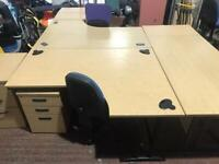 1600mm Right Curved Office Desk & Under Draw Unit Set
