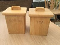 Tea and coffee wooden caddy set