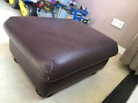 Red ox blood leather foot stool