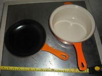 Le Creuset Marmitout Cast Iron 3-in-1 Multipan 22cm Volcanic Orange sauce pan