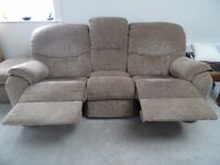 G PLAN, reclining settee, with one chair and footstool.